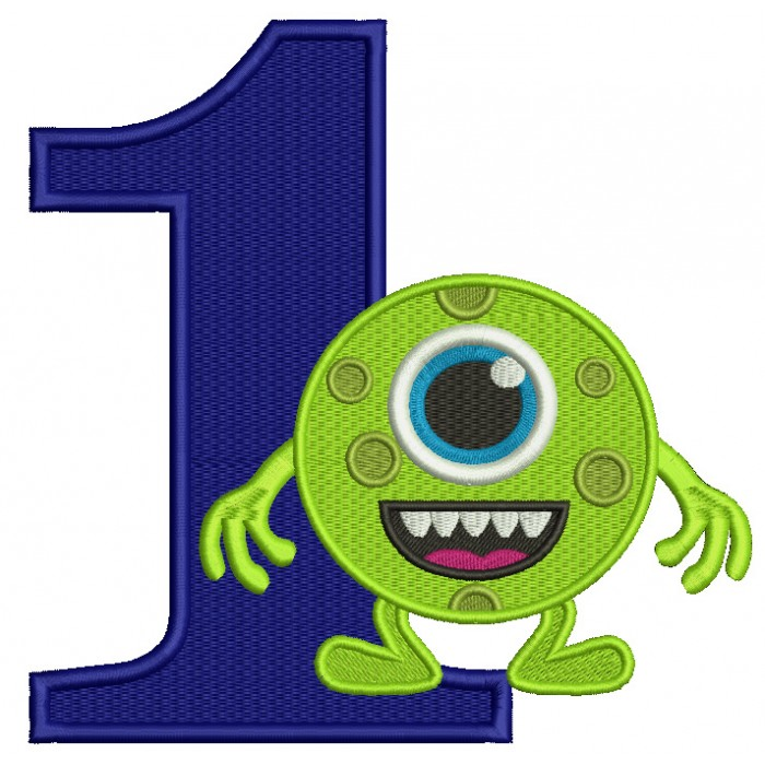 First Birthday Looks Like From Mike Wazowski Monsters Inc Filled Machine Embroidery Design Digitized Pattern