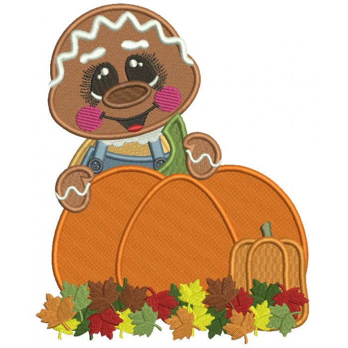 Gingerbread Man Behind a Huge Pumpkin Fall Filled Thanksgiving Machine Embroidery Design Digitized Pattern