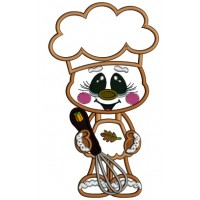 Gingerbread Man Cook Wearing Cute Apron Fall Applique Thanksgiving Machine Embroidery Design Digitized Pattern