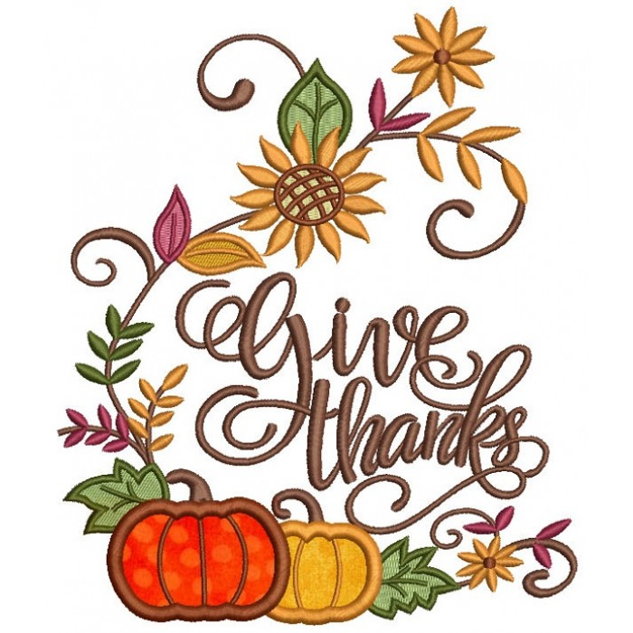 Give Thanks Pumpkin Script Letters Thanksgiving Applique Machine Embroidery Design Digitized Pattern