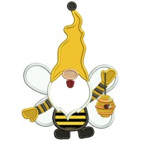 Gnome Bumble Bee Holding Beehive Applique Machine Embroidery Design Digitized Pattern