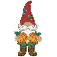Gnome Holding Two Pumpkins Thanksgiving Applique Machine Embroidery Design Digitized Pattern
