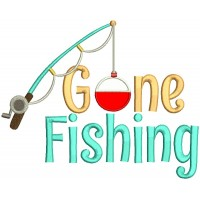 Gone Fishing Big Fishing Pole Applique Machine Embroidery Design Digitized Pattern