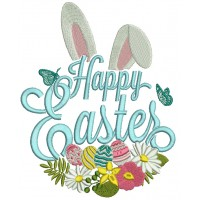 Happy Cute Easter Bunny Ears Filled Machine Embroidery
