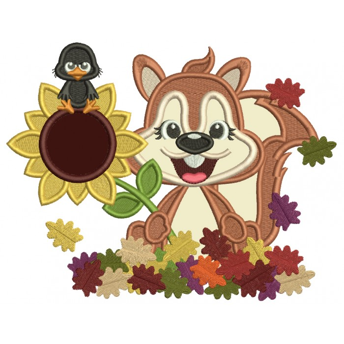 Happy Squirrel With Sunflower And Fall Leaves Applique Machine Embroidery Design Digitized Pattern