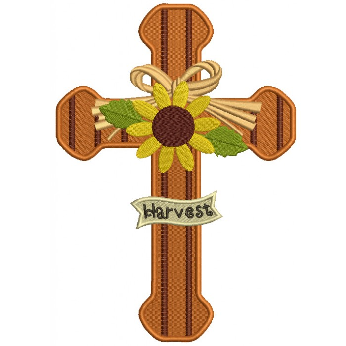 Harvest Cross With Sunflower Thanksgiving Filled Machine Embroidery Design Digitized Pattern