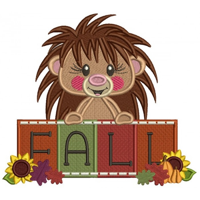 HedgeHog Holding Fall Sign Filled Machine Embroidery Design Digitized Pattern