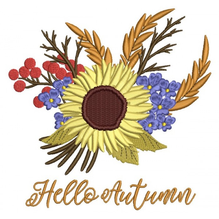 Hello Autumn Fall Flowers Filled Machine Embroidery Design Digitized Pattern