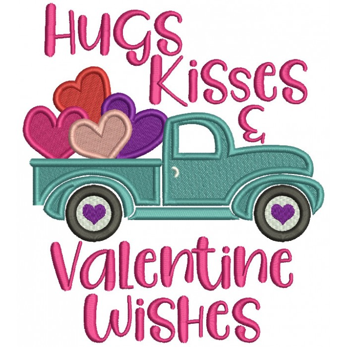 Hugs Kisses And Valentine's Wishes Truck With Hearts Filled Machine Embroidery Design Digitized Pattern