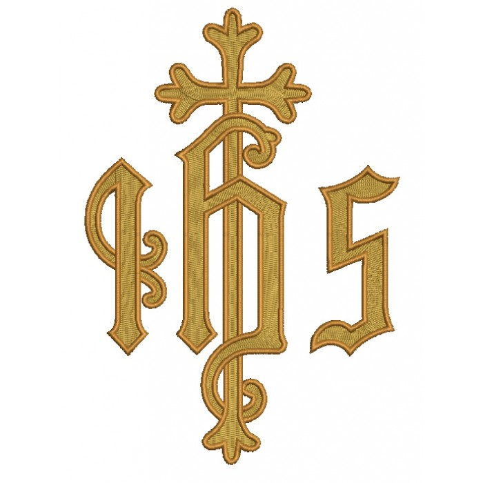 IHS Christogram Cross Religious Filled Machine Embroidery Design Digitized Pattern