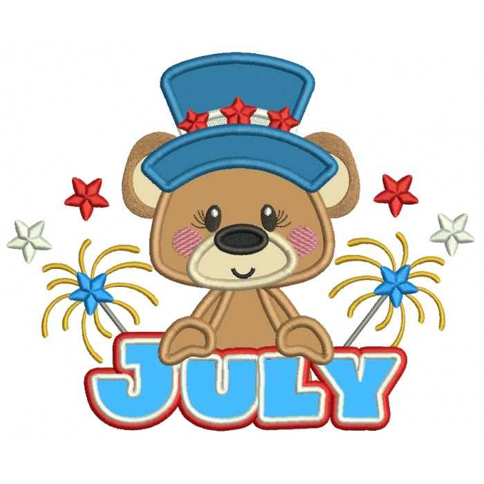 July Bear Independence Day Patriotic Applique Machine Embroidery Design Digitized Pattern