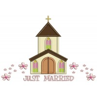 Just Married Church With Flowers Religious Applique Machine Embroidery Design Digitized Pattern