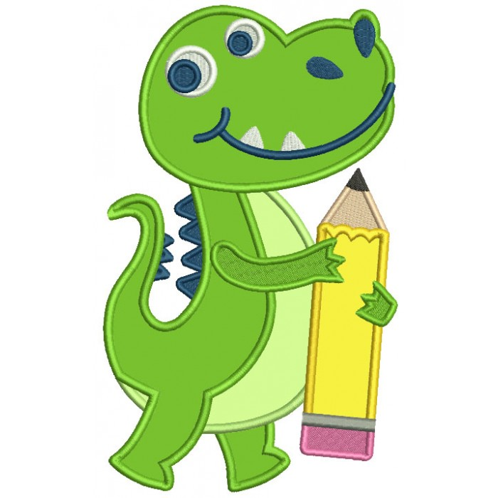 Little Dino Holding a Pencil School Applique Machine Embroidery Design Digitized Pattern