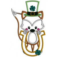 Little Fox Holding a Horseshoe With Shamrock Applique St. Patrick's Day Machine Embroidery Design Digitized Pattern