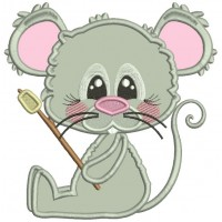Little Mouse Holding Marshmallow On The Stick Applique Machine Embroidery Design Digitized Pattern
