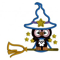 Little Owl Wizard On The Broom With Stars Applique Halloween Machine Embroidery Design Digitized Pattern