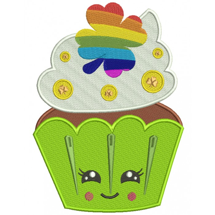 Lucky Cupcake St. Patrick's Filled Machine Embroidery Design Digitized