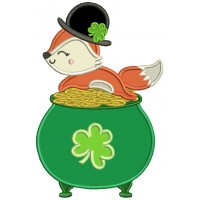 Lucky Fox Sitting On The Pot Of Gold St. Patrick's Day Applique Machine Embroidery Design Digitized Pattern
