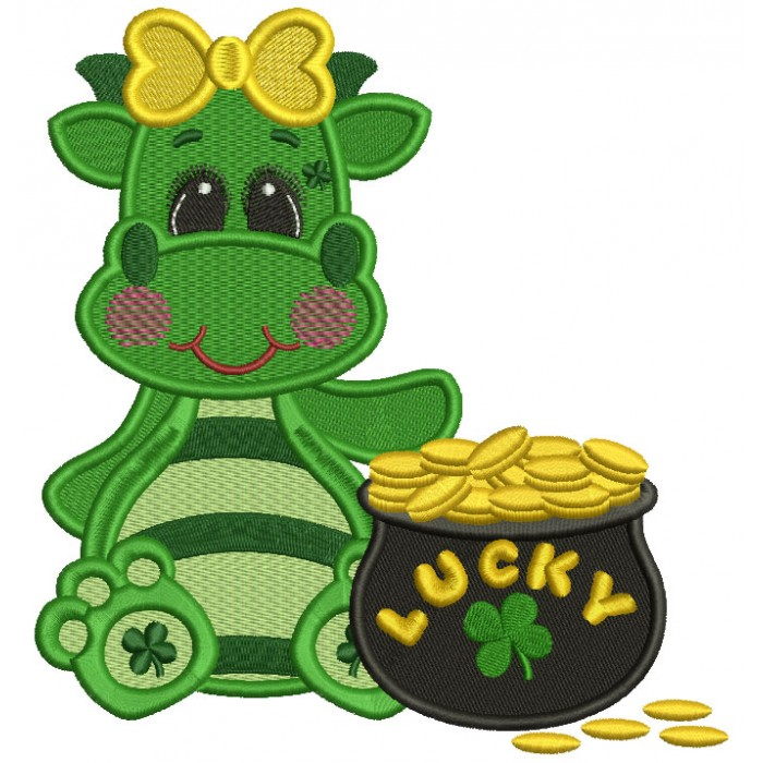 Lucky Girl Dino With a Pot Of Gold Filled St. Patrick's Day Machine Embroidery Design Digitized Pattern