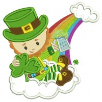 Lucky Leprechaun Holding Shamrock Irish St Patrick's Day Applique Machine Embroidery Design Digitized Pattern