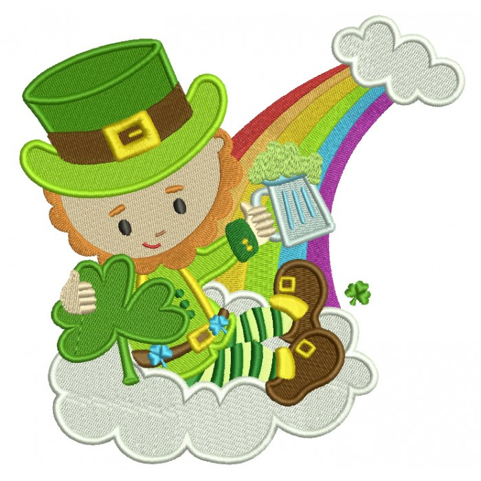 Lucky Leprechaun Holding Shamrock Irish St Patrick's Day Filled Machine Embroidery Design Digitized Pattern