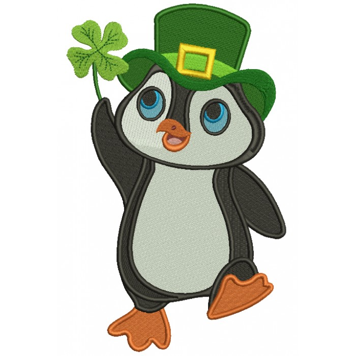 Lucky Penguin Holding a Shamrock St. Patrick's Filled Machine Embroidery Design Digitized Pattern