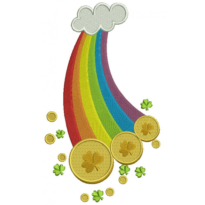 Lucky Rainbow With a Cloud Irish St Patrick's Day Filled Machine Embroidery Design Digitized Pattern