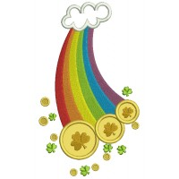 Lucky Rainbow With a Cloud Irish St Patrick's Day Applique Machine Embroidery Design Digitized Pattern