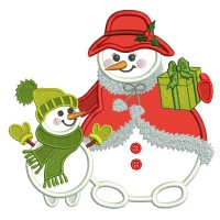 Mommy And Baby Snowman Family Christmas Applique Machine Embroidery Design Digitized Pattern