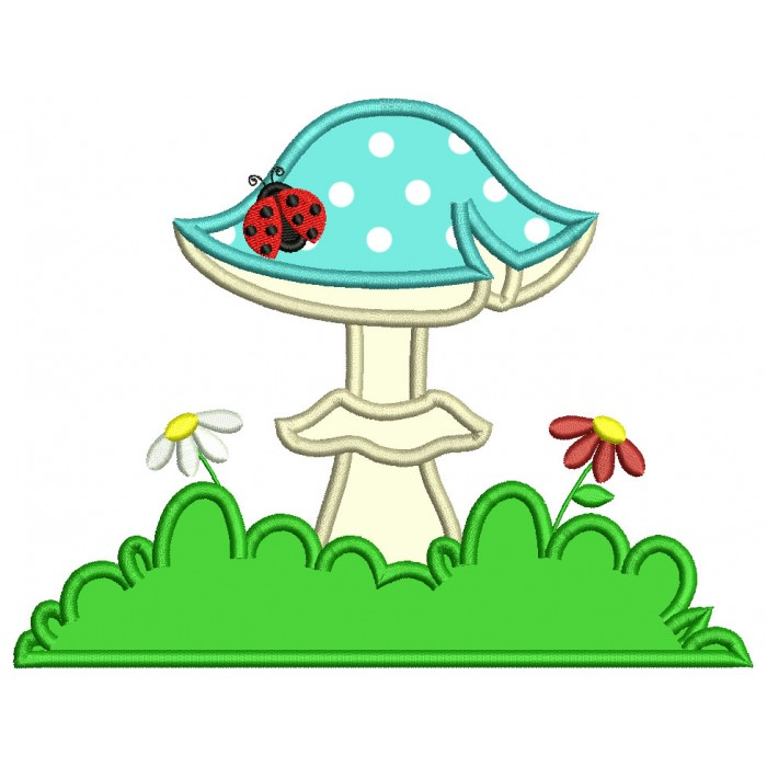 Mushroom With Flowers And Ladybug Applique Machine Embroidery Design Digitized Pattern
