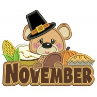 November Bear Thanksgiving Applique Machine Embroidery Design Digitized Pattern