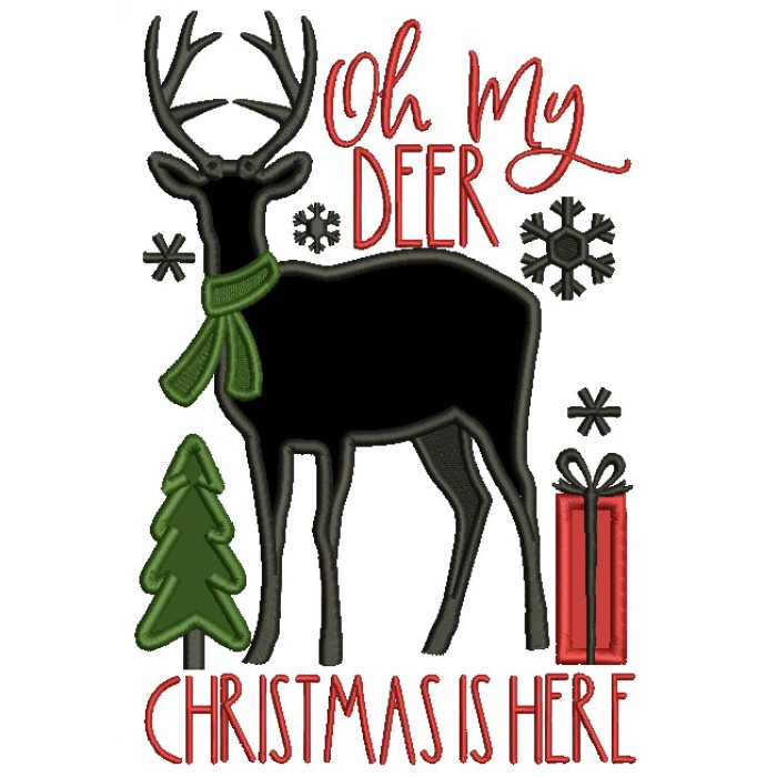Oh My Deer Christmas Is Here Applique Machine Embroidery Design Digitized Pattern