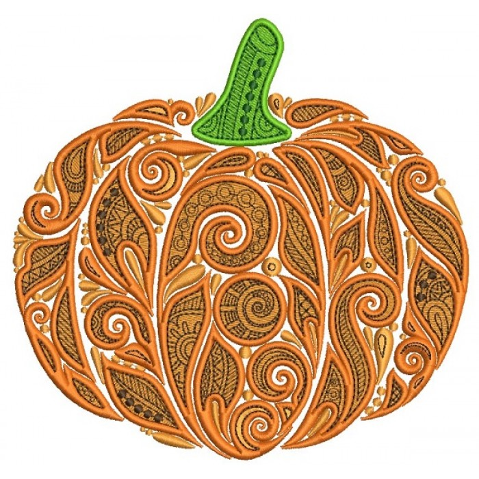 Ornate Pumpkin With Beautiful Patterns Thanksgiving Filled Machine Embroidery Design Digitized Pattern