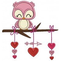 Owl On The Branch With Hearts and Arrow Valentine's Day Applique Machine Embroidery Design Digitized Pattern