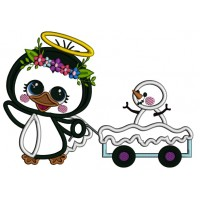 Penguin Angel Pulling Wagon With Snowman Applique Christmas Machine Embroidery Design Digitized Pattern