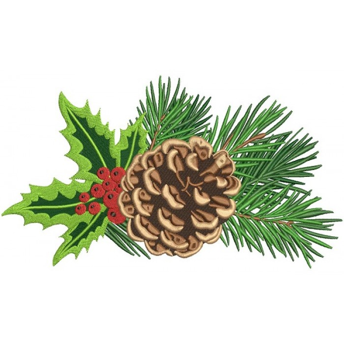 Pine Cone Filled Christmas Machine Embroidery Design Digitized Pattern