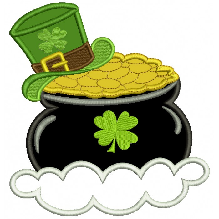 Pot of Gold With a Shamrock Hat Irish St Patrick's Day Applique Machine Embroidery Design Digitized Pattern