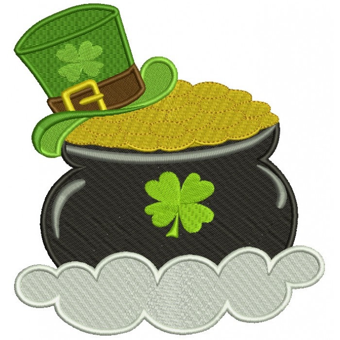 Pot of Gold With a Shamrock Hat Irish St Patrick's Day Filled Machine Embroidery Design Digitized Pattern