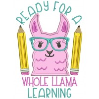Ready For A Whole Llama Learning School Applique Machine Embroidery Design Digitized Pattern