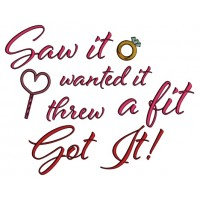 Saw It Wanted It Threw A Fit Got It Ring Applique Machine Embroidery Design Digitized Pattern