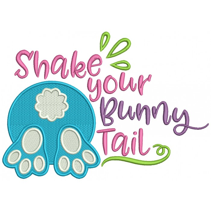 Shake Your Bunny Tail Filled Easter Machine Embroidery Design Digitized Pattern