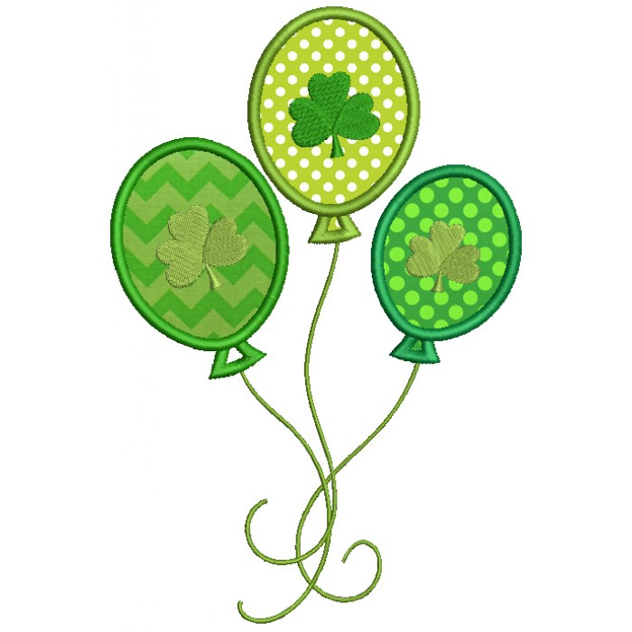 Shamrock Balloons Irish St Patrick's Day Applique Machine Embroidery Design Digitized Pattern