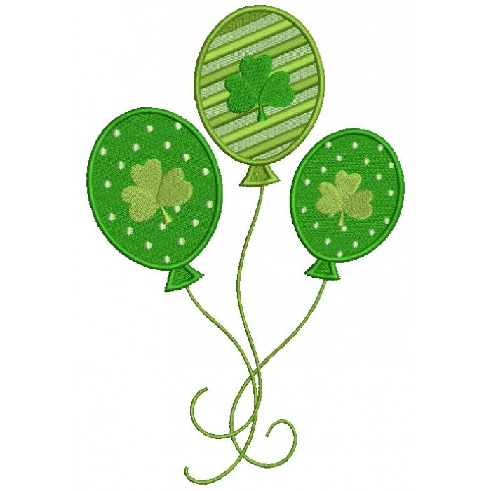 Shamrock Balloons Irish St Patrick's Day Filled Machine Embroidery Design Digitized Pattern