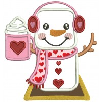 Snowman With Heart Holding Hot Cocoa Valentine's Day Applique Machine Embroidery Design Digitized Pattern