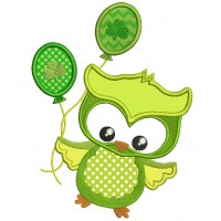 St Patrick's Day Owl Holding Ballooon With Shamrock Applique Machine Embroidery Design Digitized Pattern
