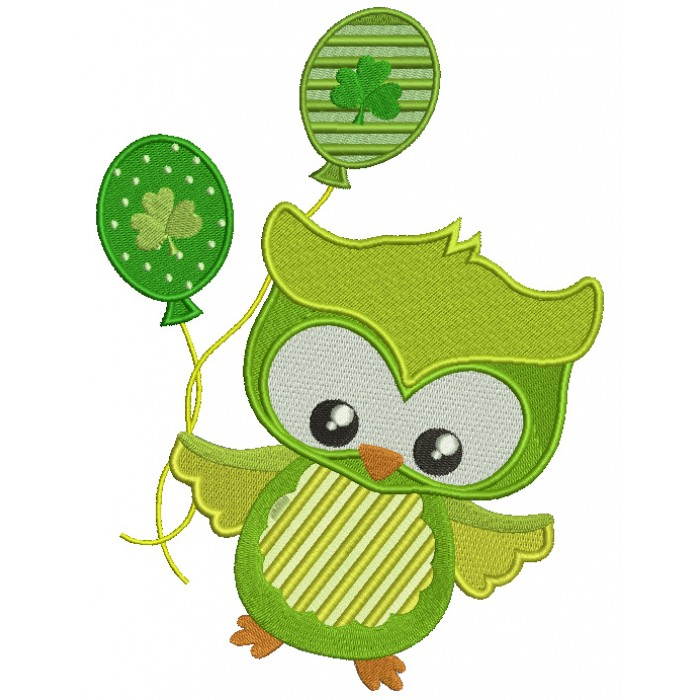 St Patrick's Day Owl Holding Ballooon With Shamrock Filled Machine Embroidery Design Digitized Pattern