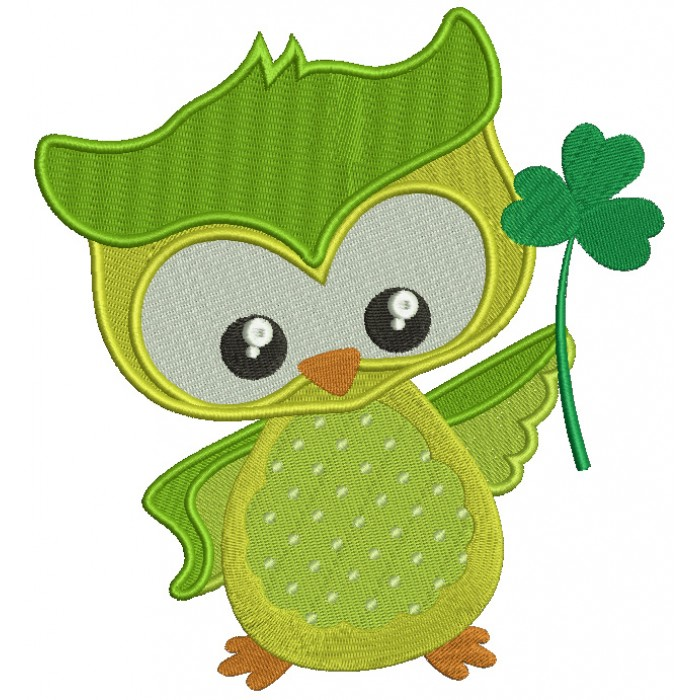 St Patrick's Day Owl Holding Shamrock Irish Filled Machine Embroidery Design Digitized Pattern