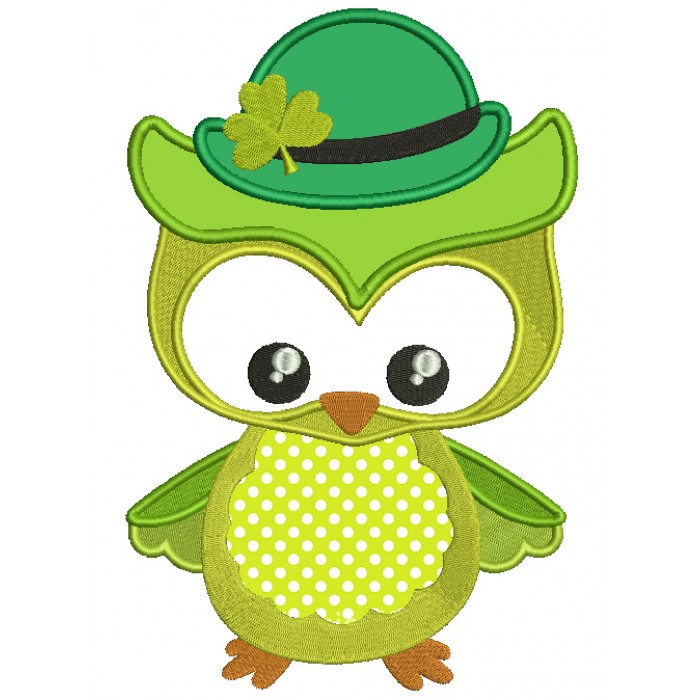 St Patrick's Day Owl Irish Applique Machine Embroidery Design Digitized Pattern