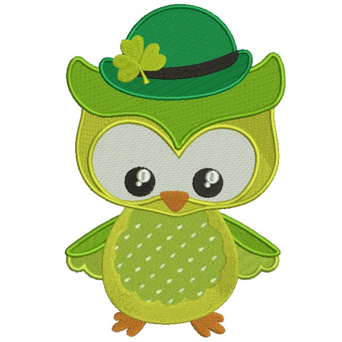 St Patrick's Day Owl Irish Filled Machine Embroidery Design Digitized Pattern