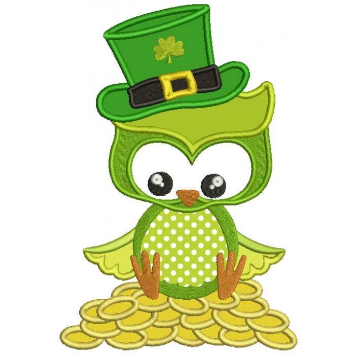 St Patrick's Day Owl Sitting on Gold Coins Irish Applique Machine Embroidery Design Digitized Pattern